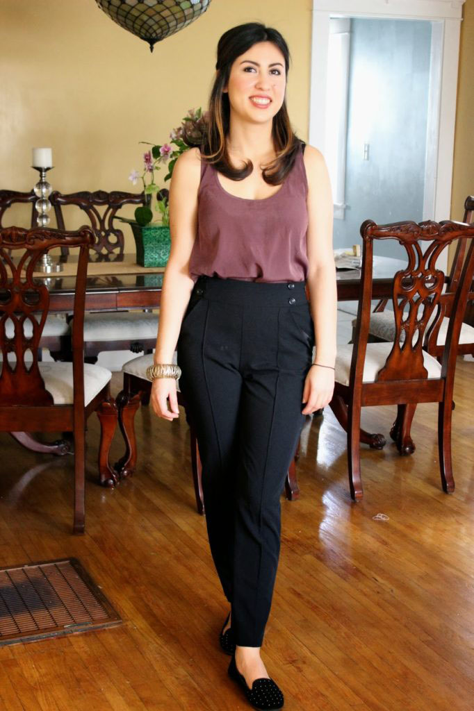 High Waist Pants and Purple TOp