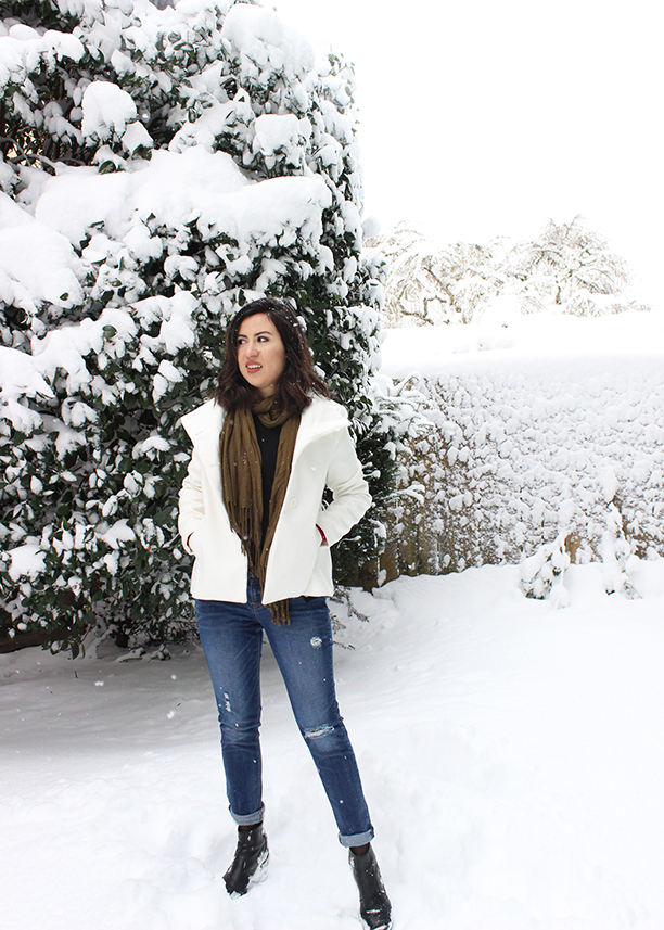 Sweet Helen Grace White Winter Coat Boyfriend Jeans And Chelsea