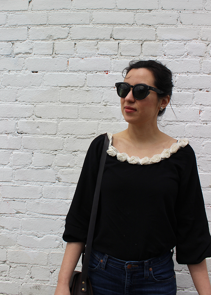 Rose Collar Top and Round Sunglasses