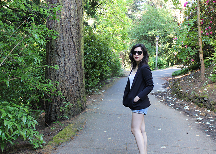 Black Thrifted Blazer and Denim Shorts