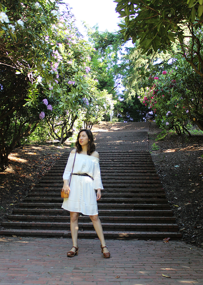 Laurelhurst Park_Portland_Belted Off the Shoulder White Dress_Clogs_Basket Bag