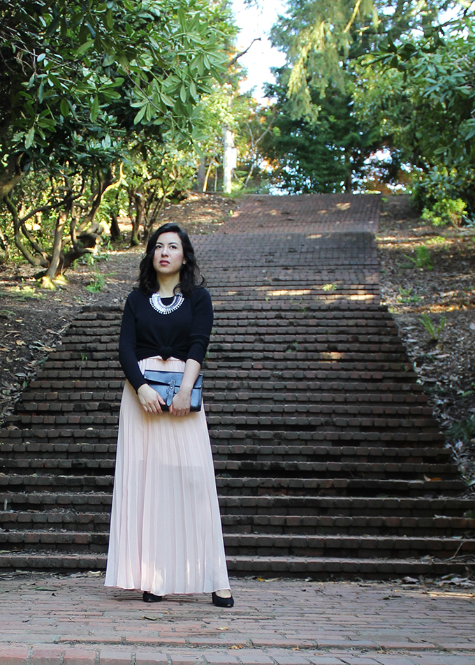 Blush Pleated Skirt and Black Sweater. Photo taken at the Laurelhurst Park Stairs, Portland, Oregon