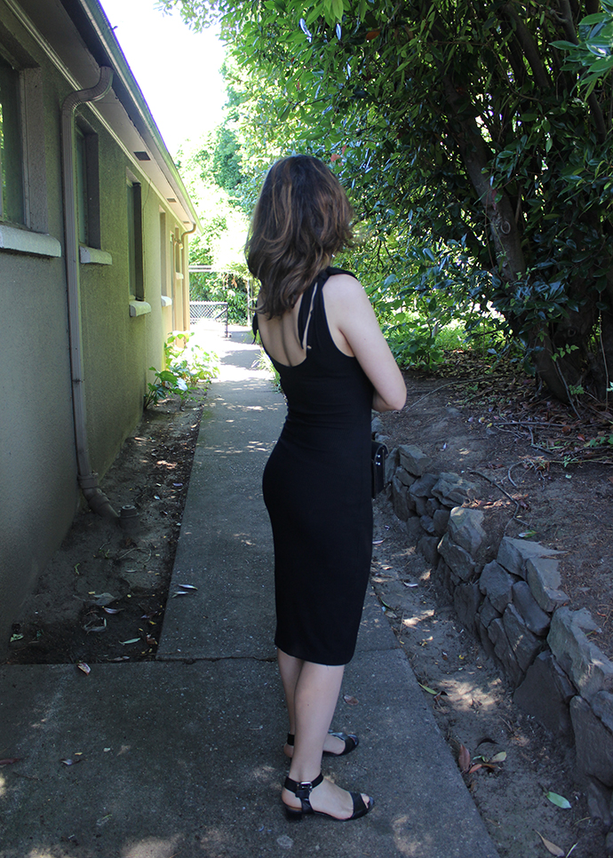 Black Midi Dress and Minimalist Sandals