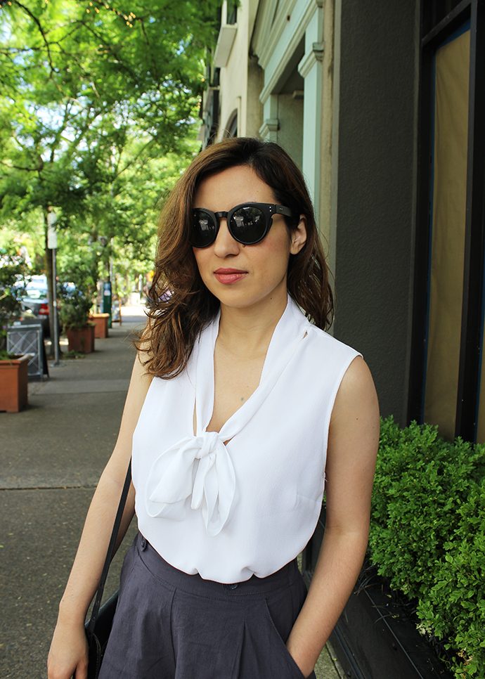 Retro Glam: Wearing a Tie Blouse and MAC Cosmetics Lipstick in Twig