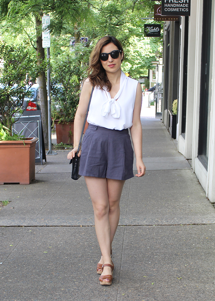 Retro Glam Look: Petite Culotte Shorts, Tie Blouse and Lotta from Stockholm Clogs