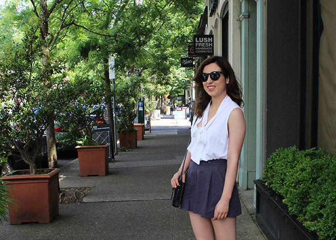 Pussy Bow Blouse and Pleated Culotte Shorts