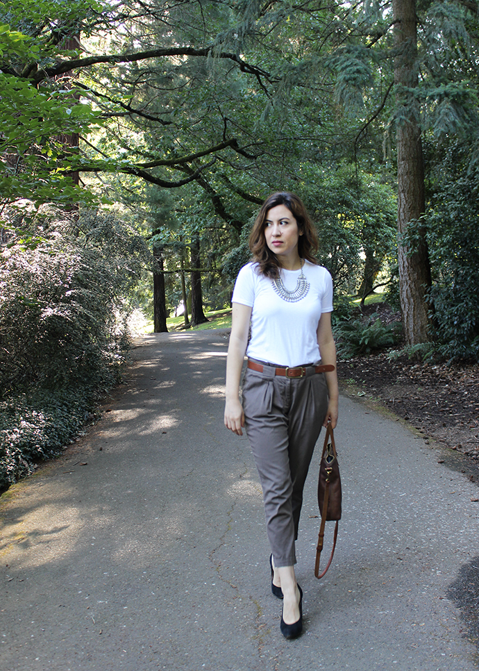 Tomboy Style: Everlane Tee, Statement Necklace and Slouchy Paper Bag Waist Pants