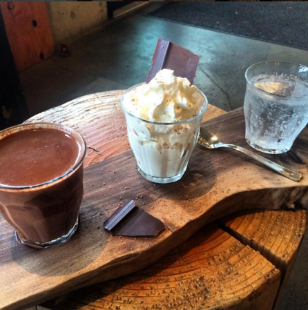 Drinking chocolate at Cup and Bar in Portland, Oregon