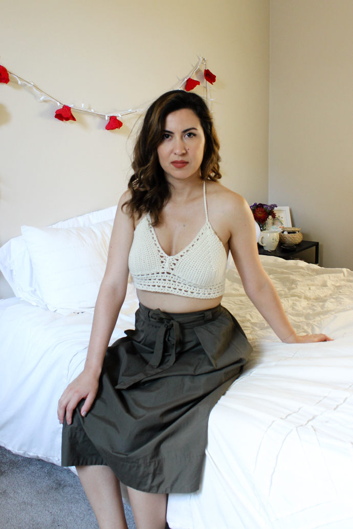 Etsy RainaRoo Boho Crochet Halter Top and Thrifted Olive Madewell Skirt (1 of 1)