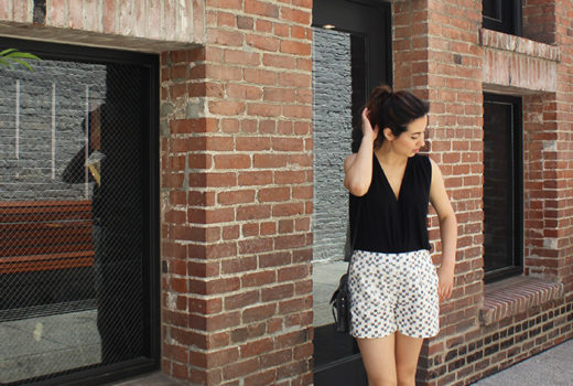 Madewell Shorts and Black Wrap Top
