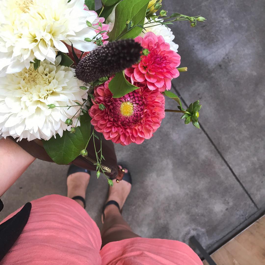 Coral Linen Shorts and Farmer's Market Dahlias