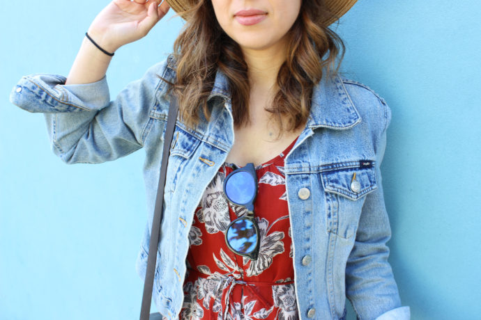 Denim Jacket and Who What Wear for Target Floral Dress