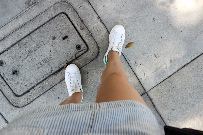 adidas Stan Smith Sneakers and Railroad Stripe Skirt