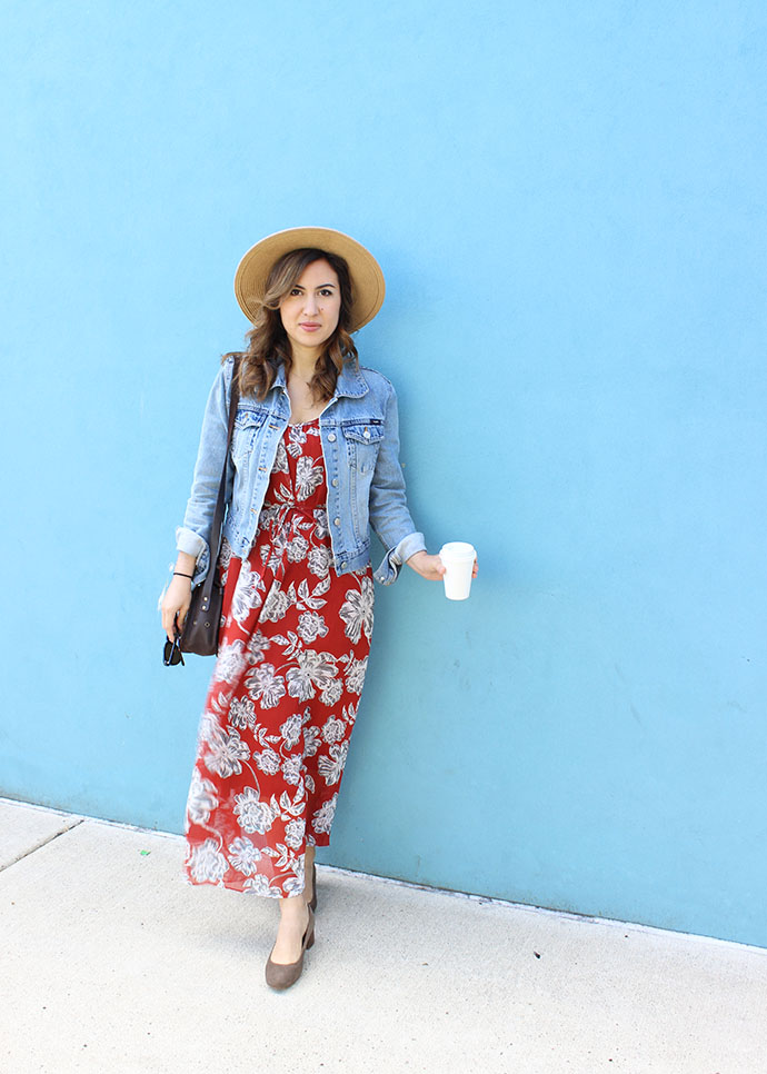 Denim Jacket, Who What Wear Floral Dress, Boater Hat and Madewell Ella Pumps