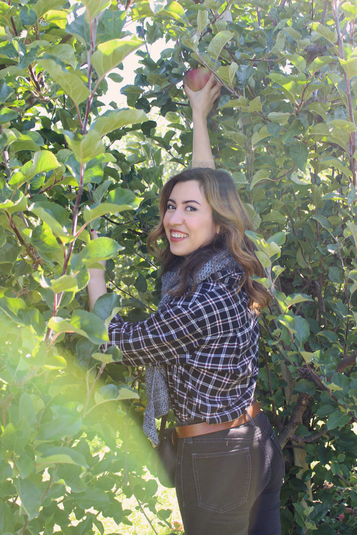 Wearing plaid Uniqlo scarf, thrifted high-rise jeans, and handmade Shae Becker Scarf while apple picking in Hood River