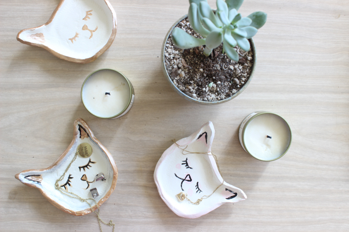 DIY Kitty Jewelry Dishes - Air Dry Clay