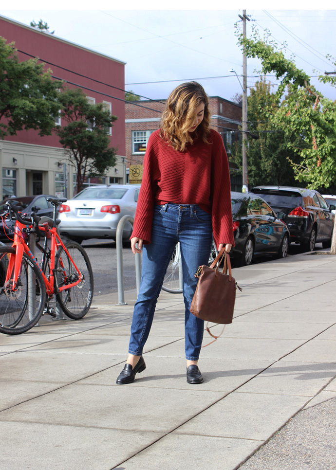 Portland Fall Style. Wearing: Anthropologie sweater and Madewell denim, loafers and transport tote.