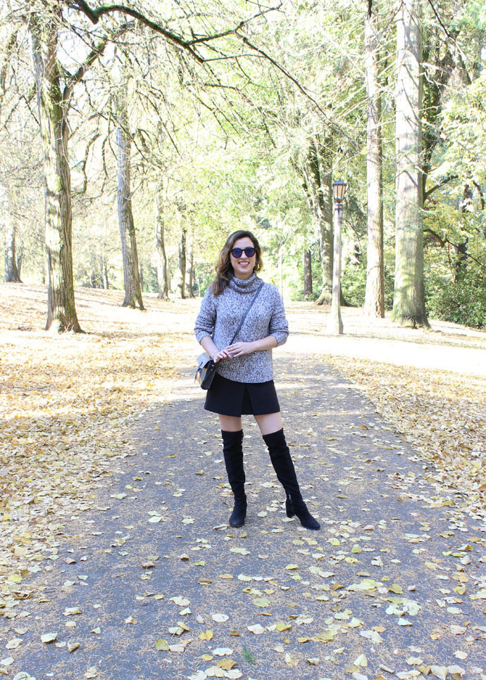 A monochrome outfit you can wear during Fall in Portland. Featuring Marc Fisher over-the-knee boots, H&M mini skirt, and a marled turtleneck sweater