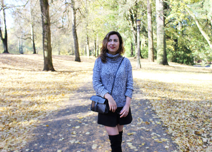 Marled Turtleneck, Mini Skirt and Over the Knee Boots