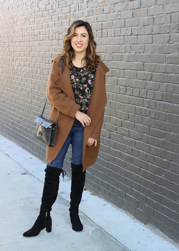 Portland Fall Style : Balayage Hair, Floral Top, Madewell Denim and Over-the-knee boots