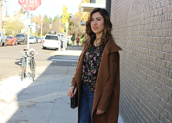 Fall Style: Oversize Camel Coat and Florals