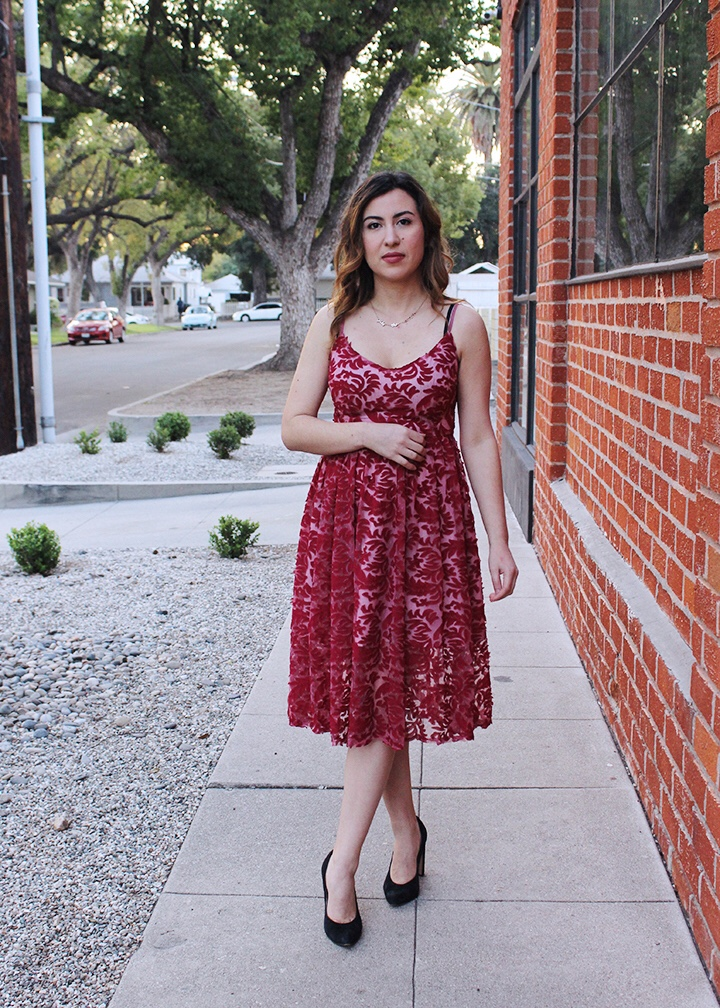 Red Lace Cranberry Red Party Dress, Perfect for the Holidays