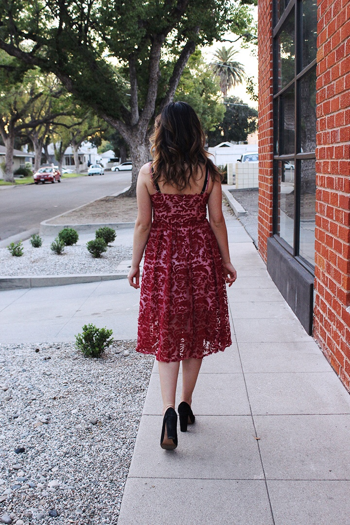 Cranberry Red Aplique Party Dress and Black Block Heel Pumps