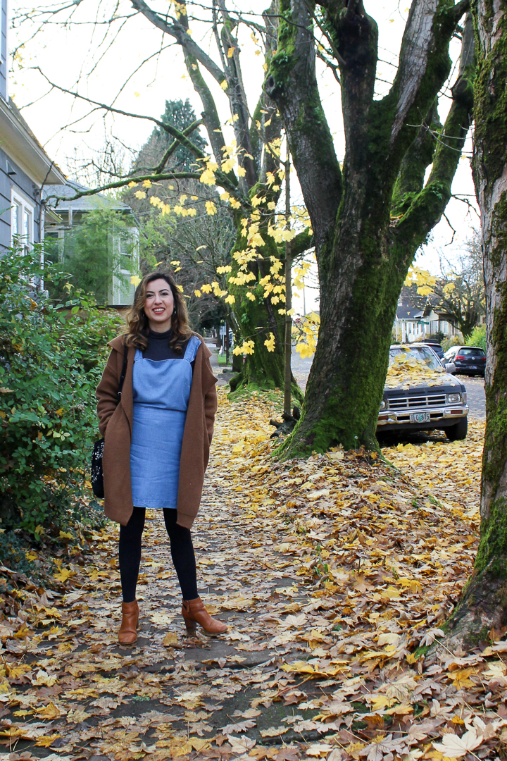 Denim Pinafore Dress, Turtleneck and Camel Coat