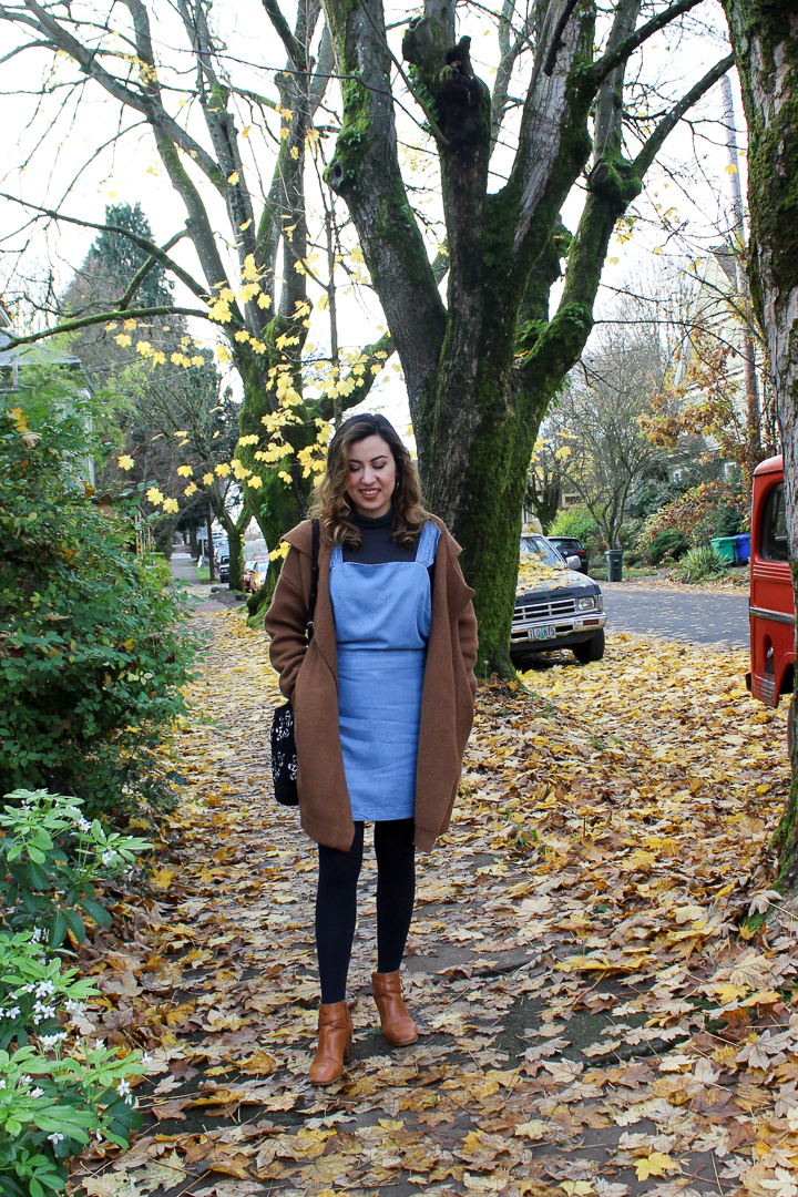 Denim Pinafore Dress, Knit Camel Coat and Uniqlo Heattech Tights