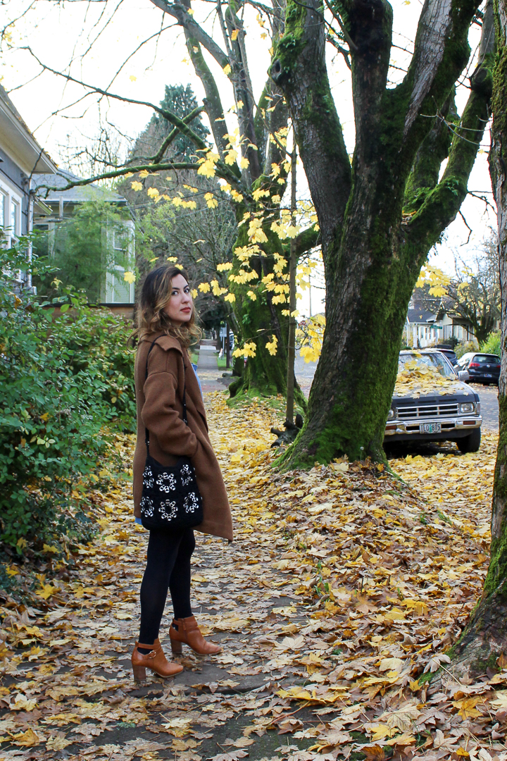 Portland Fall Style: Handmade Crochet Bag, Cole Haan Tan Boots, and Oversize Knit Camel Coat