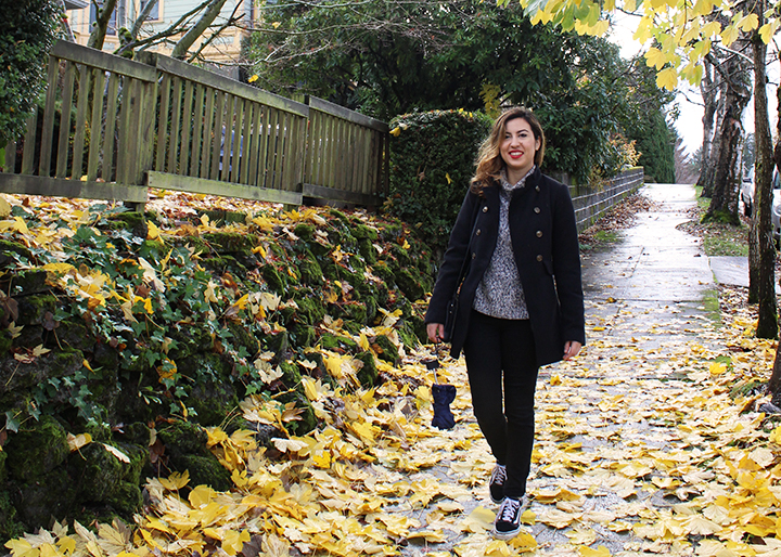 Rainy Day in Portland _ Wearing a military style coat, marled turtleneck and Vans shoes