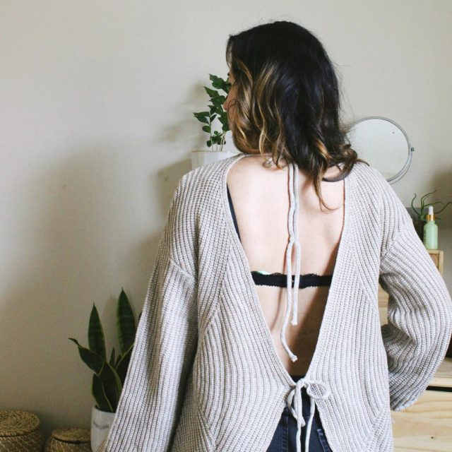 I love the open back of the cozy sweater Imhellip