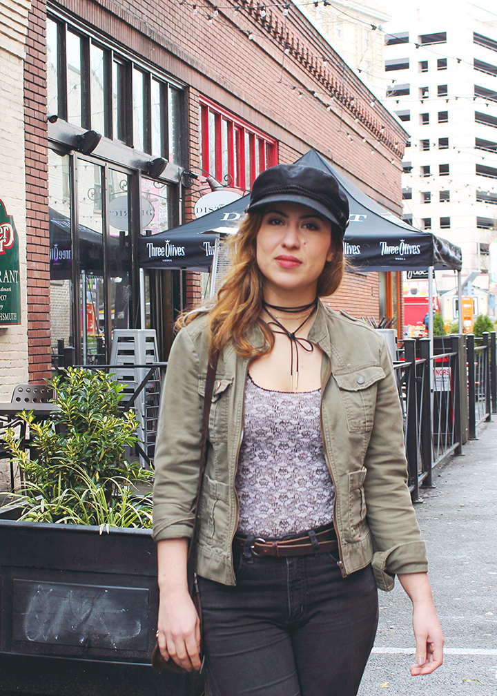 Newsboy Cap, Utility Jacket, Free People Lace Top and Tie Chocker