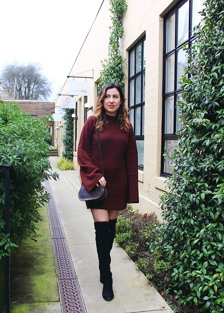 Valentines Day Outfit: Burgundy Sweater Dress and Marc Fisher Over-the-Knee Boots