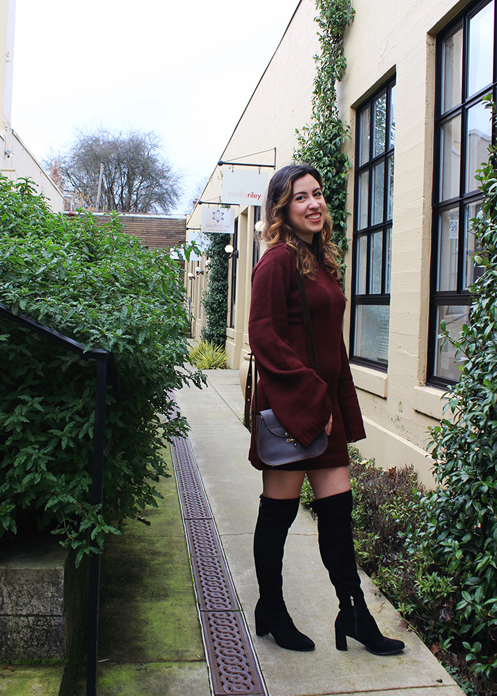 Valentine's Day Outfit Inspo: Burgundy Sweater Dress and Over-the-Knee Boots