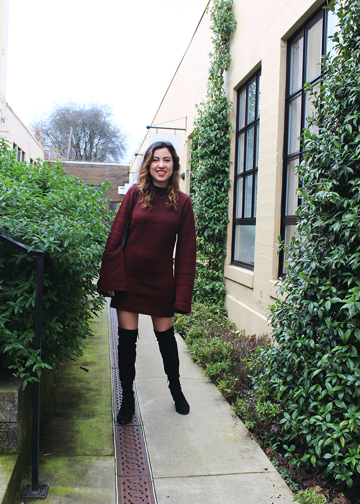 Over the Knee Boots and Burgundy Sweater Dress